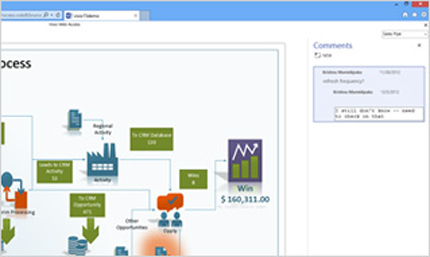 Close-up of a Visio diagram with comments, shared via a browser.