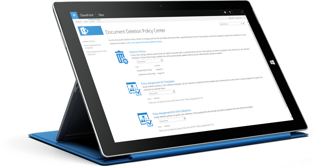 Surface tablet displaying the SharePoint compliance policy center, learn about SharePoint Server 2016 on Microsoft TechNet