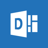 Microsoft Delve logo, get information about the Delve mobile app in page