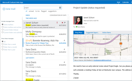Close-up of a user's inbox in Outlook Web App, powered by Exchange.