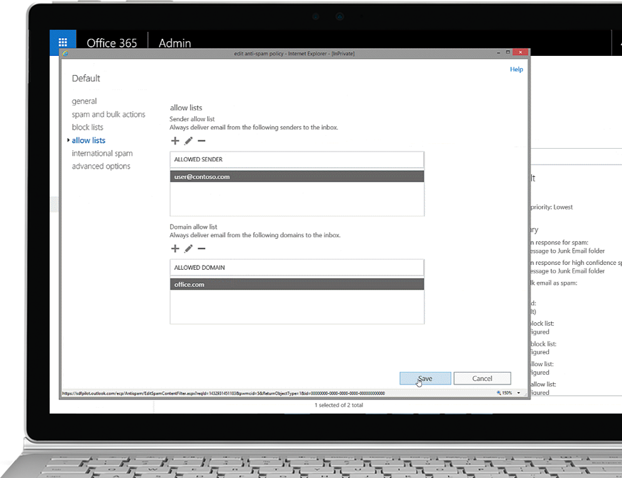 Office 365 Exchange Online Protection filter policy on a Windows laptop PC