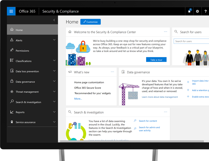 Office 365 Security and Compliance Center on a Windows desktop monitor