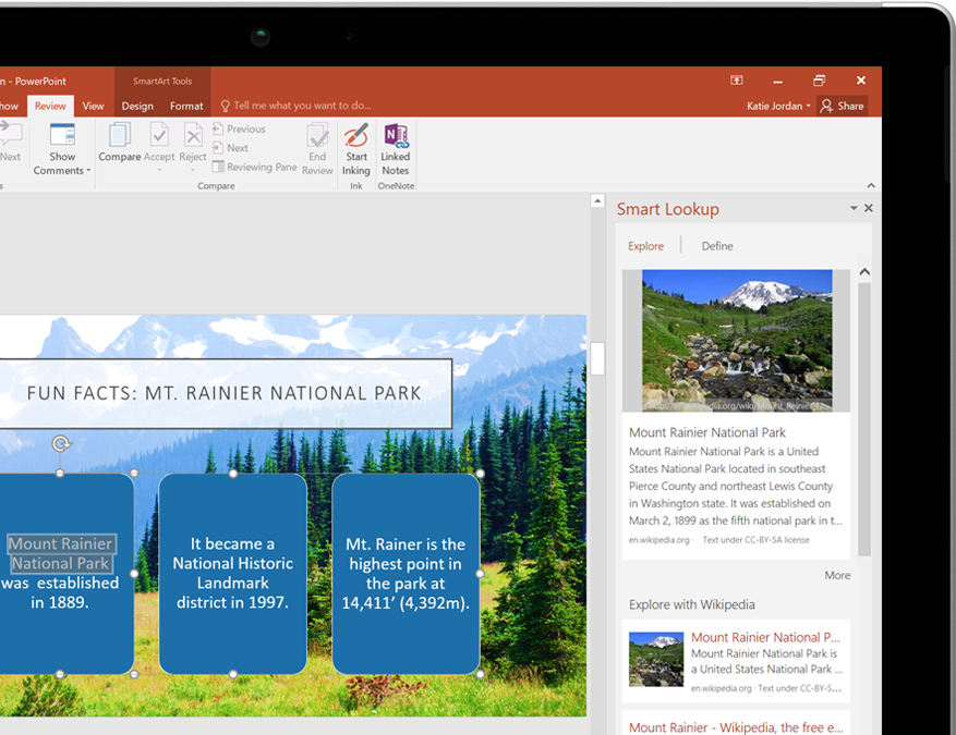 A tablet PC showing Smart Lookup in PowerPoint