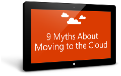 Tablet showing 9 myths about moving to the cloud eBook, download the eBook by completing the form on the destination page