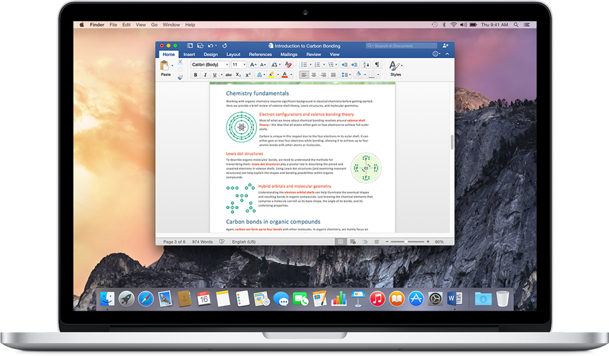 A MacBook showing a Word document open on the home screen. Try the new Office for Mac.