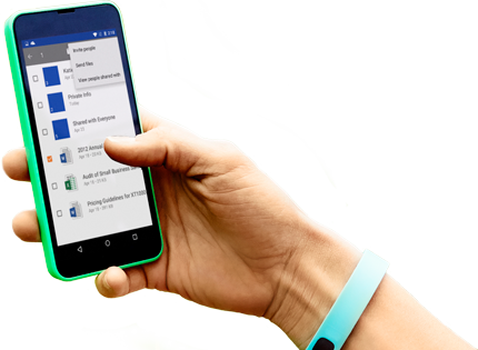 A smartphone held with one hand, showing Office 365 being accessed.