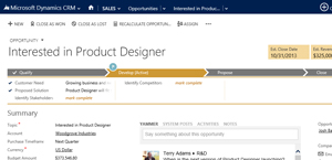 An image of a sales opportunity page in Microsoft Dynamics CRM Online.