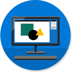 Computer icon with business software