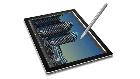 Detail of Surface Pro 4 in tablet mode with Surface Pen touching the screen