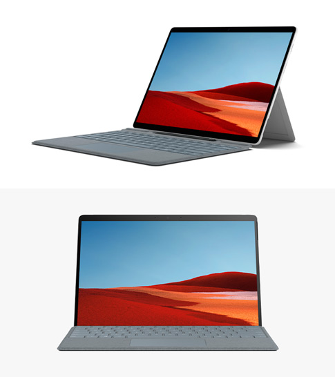 Surface Pro X side profile with Surface Pro X Keyboard