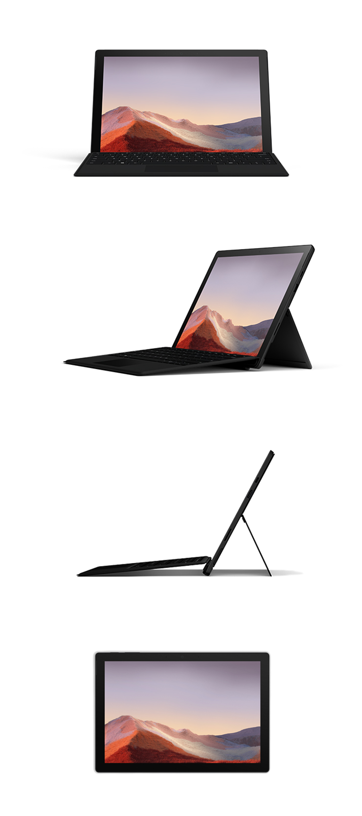 360 rotation of the Surface Pro 7 (Black)