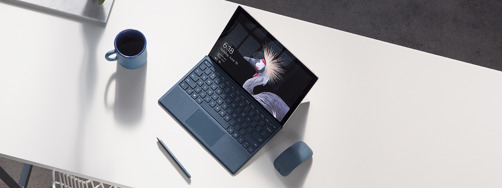 Image of Surface Pro device on the bench with Surface Pen.