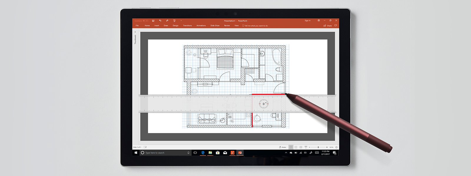 Microsoft Powerpoint presentation on a Surface device