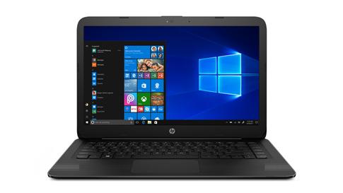 HP laptop displaying the Windows 10 start menu