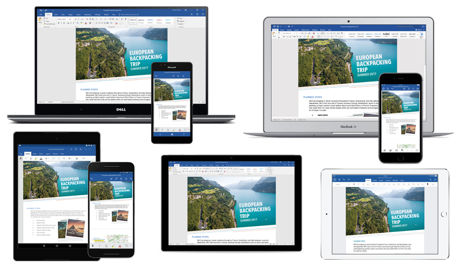 Word document about a European backpack trip displayed on several laptops, tablets, and phones, learn about getting free Office mobile apps