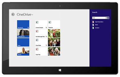 A tablet showing a worker's personal file storage and sharing page in Office 365.