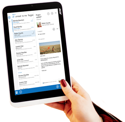 A tablet showing a preview of an Office 365 email with custom formatting and an image.