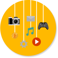 Camera, music, game controller, files, video play button