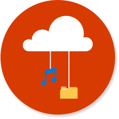 Cloud with music notes and file folder