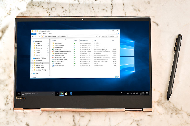 A Windows 10 computer showing a OneDrive folder