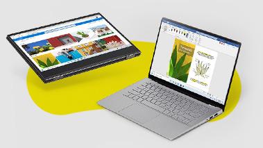 Two Windows 10 PCs sitting side by side