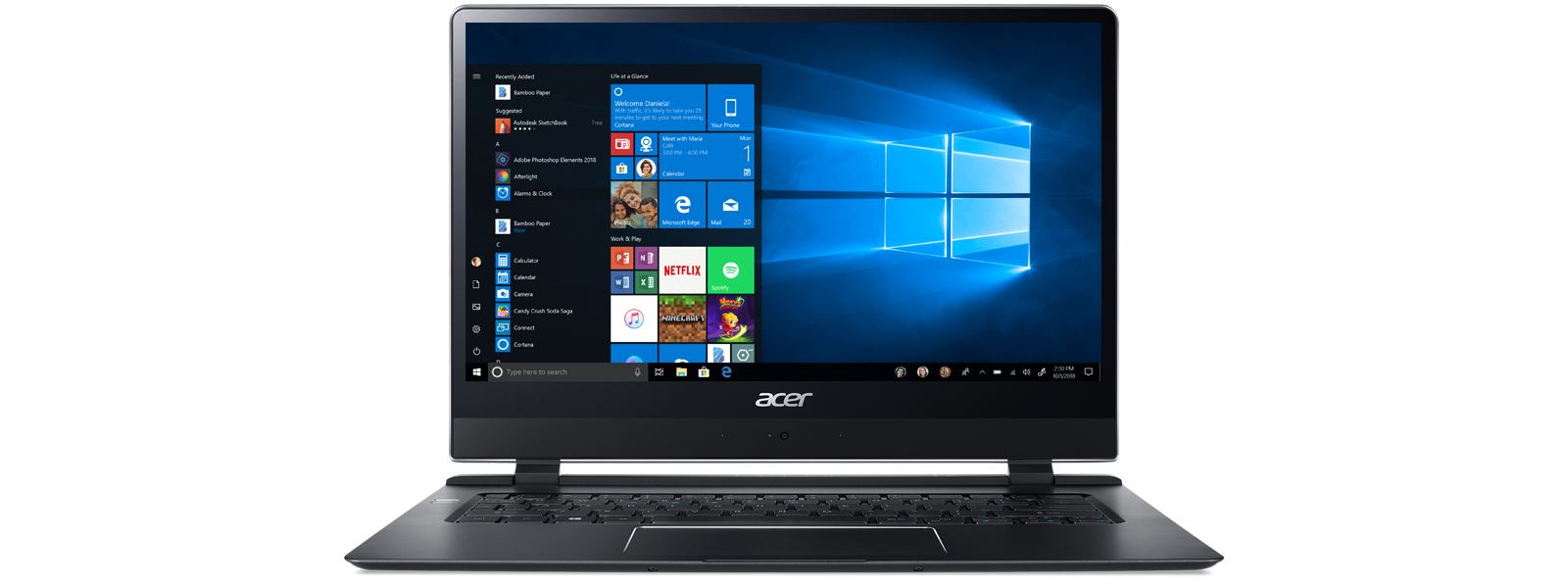 Front-facing view of the Acer Swift 7