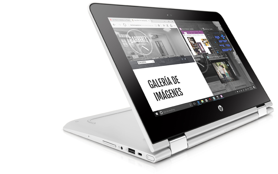 HP Pavilion x360 in stand mode with the internet and Office programs open side-by-side.
