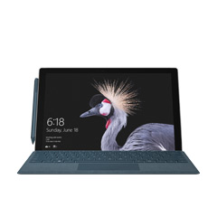 Front view of Cobalt Surface Pro with crane bird start screen.