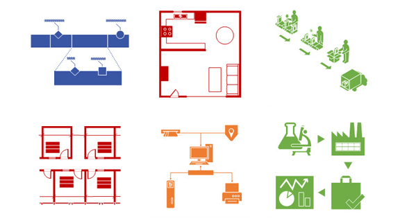 Examples of Visio templates, including diagrams for electrical circuitry, floor plans, process flows, network architecture and more