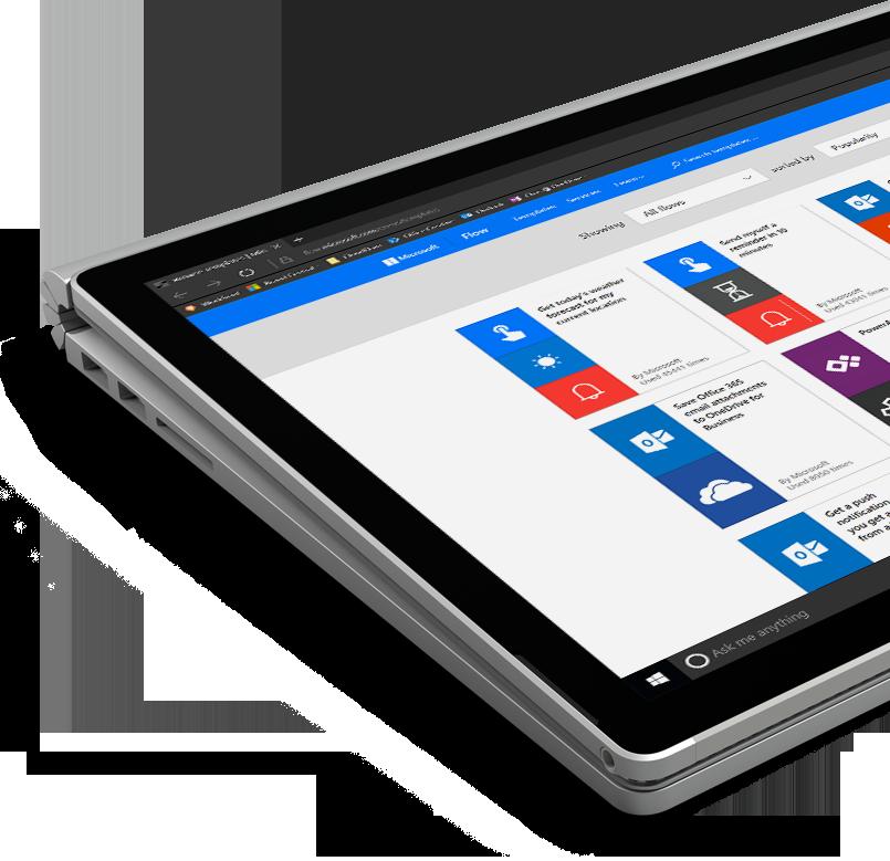 a Windows tablet PC running Flow