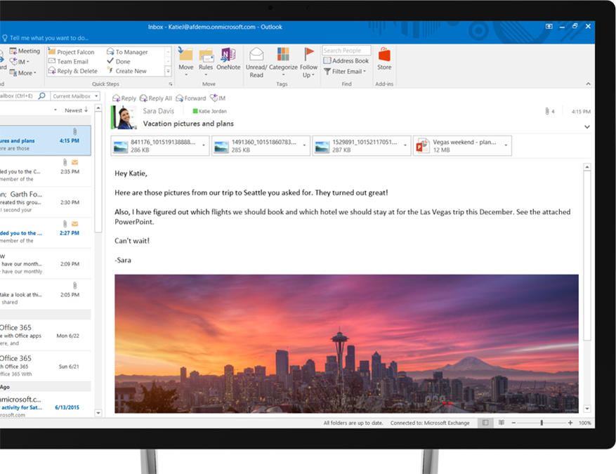 An Office 365 email message showing an embedded image of the Seattle skyline