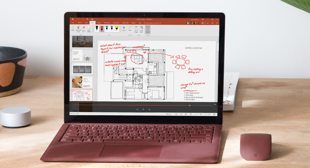 Ink Replay markup on an architectural drawing on a Surface tablet