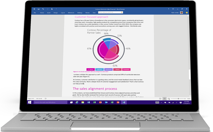Laptop displaying a Word document