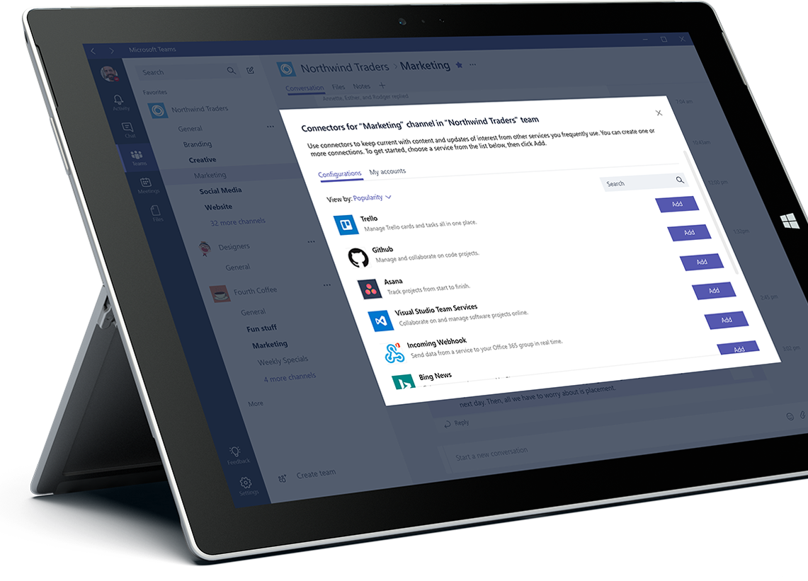 A Microsoft Surface tablet displaying the Add tab window in Microsoft Teams