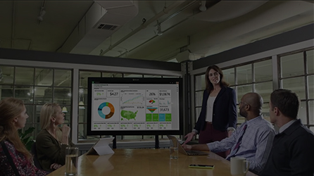 Several people around a conference table watching a presentation, play in-page video titled Microsoft Dynamics Marketing Drives Results
