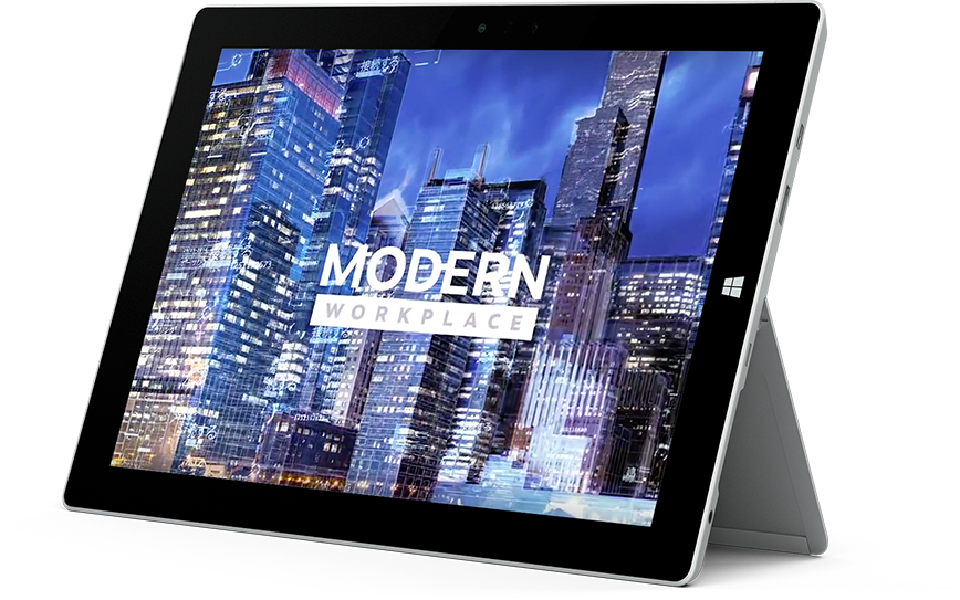 Microsoft Surface tablet featuring Modern Workplace on the screen