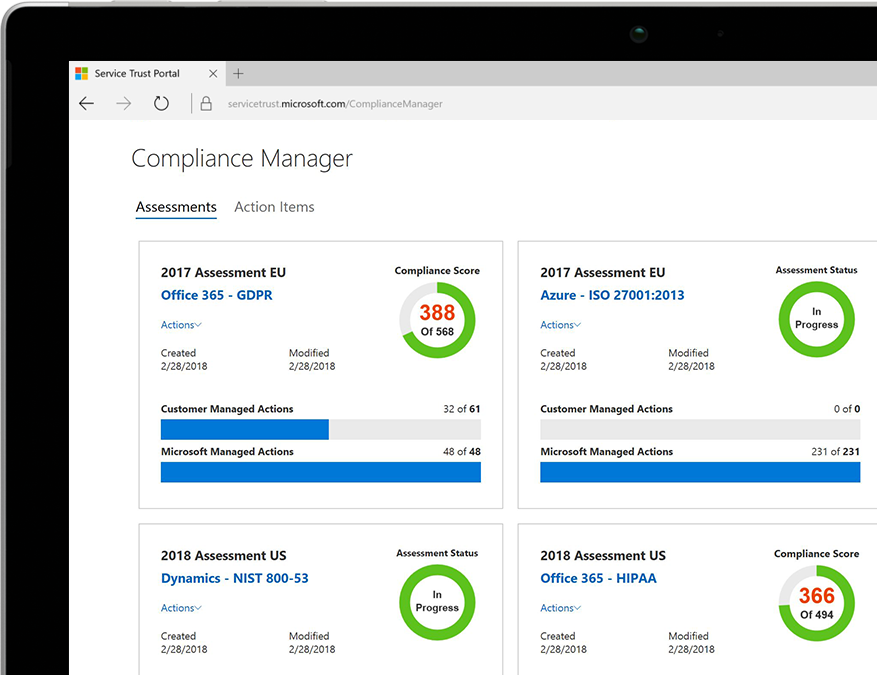 A tablet displaying Compliance Manager in Office 365