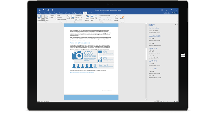 A tablet showing the version history of a document in Office 365.