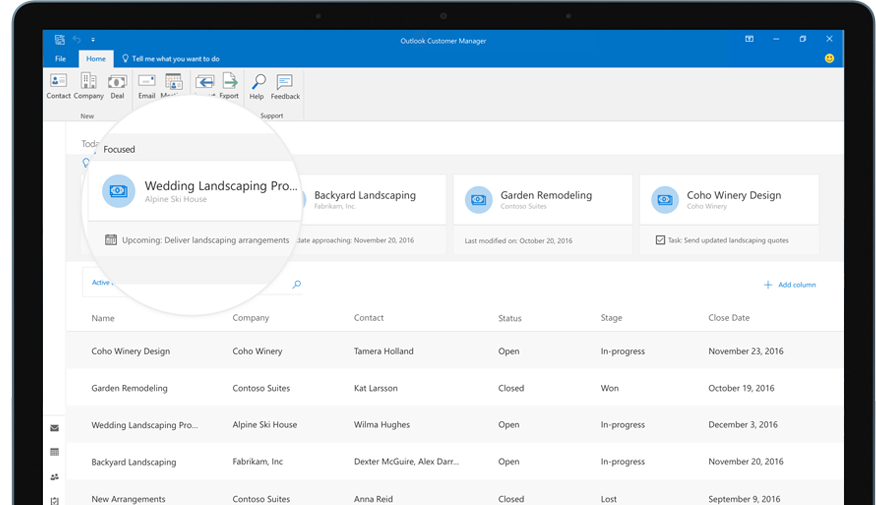 An image of Outlook with a zoomed in section showing a deal in Outlook Customer Manager