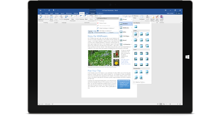 A Surface showing the new Tell Me feature in a Word document.