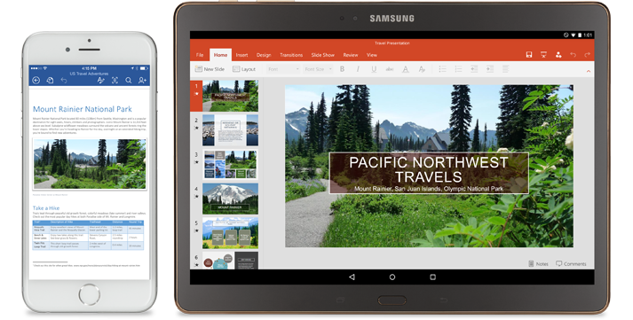 A mobile phone displaying information about Mt. Rainier National Park, and a tablet featuring a PowerPoint presentation about Pacific Northwest travels.