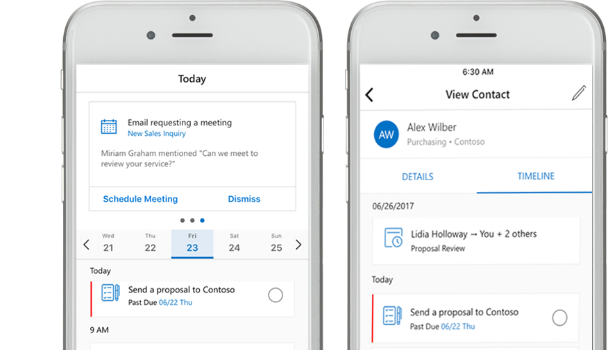 IPhone showing a list of contacts in the Outlook Customer Manager mobile app