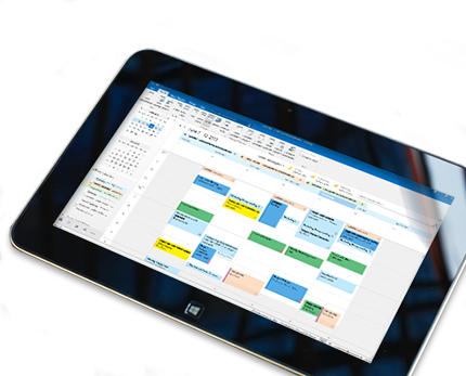A tablet showing a calendar open in Outlook 2013 with the day's weather showing.