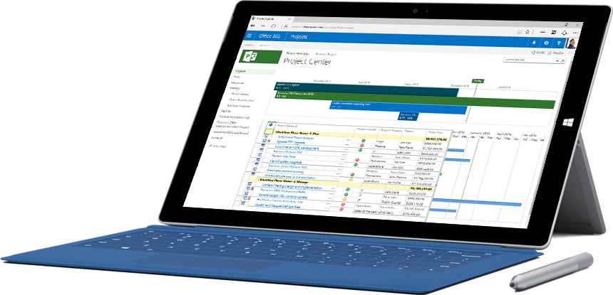 Microsoft Surface tablet showing a timeline and list of tasks in the Project Center in Office 365