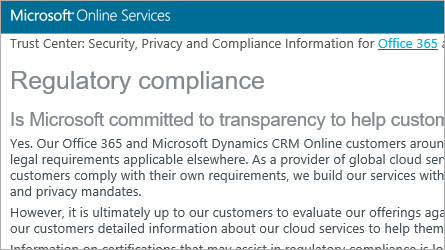 Microsoft Online Services page displaying regulatory compliance information, read the regulatory compliance FAQ