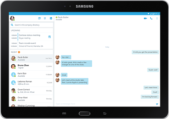 A tablet screen showing an IM conversation in a Skype for Business app window