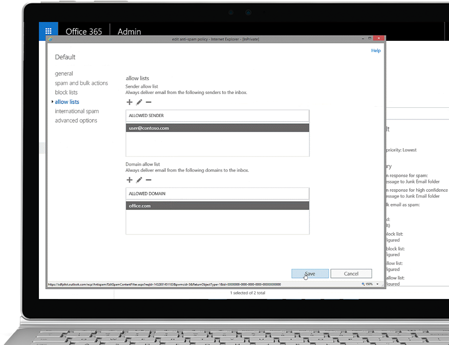 A tablet showing the edit anti-spam policy in the Office 365 Admin console with an allowed sender and domain