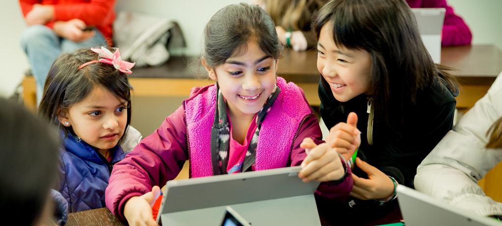 Kids at Microsoft Store