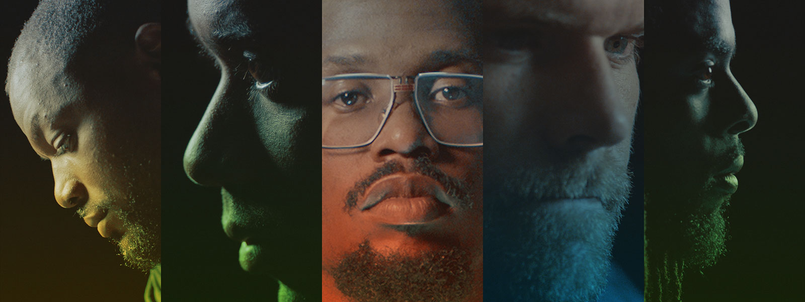 Closeups of Von Miller, Richard Sherman, Martellus Bennett, Russell Wilson, and Greg Olsen.