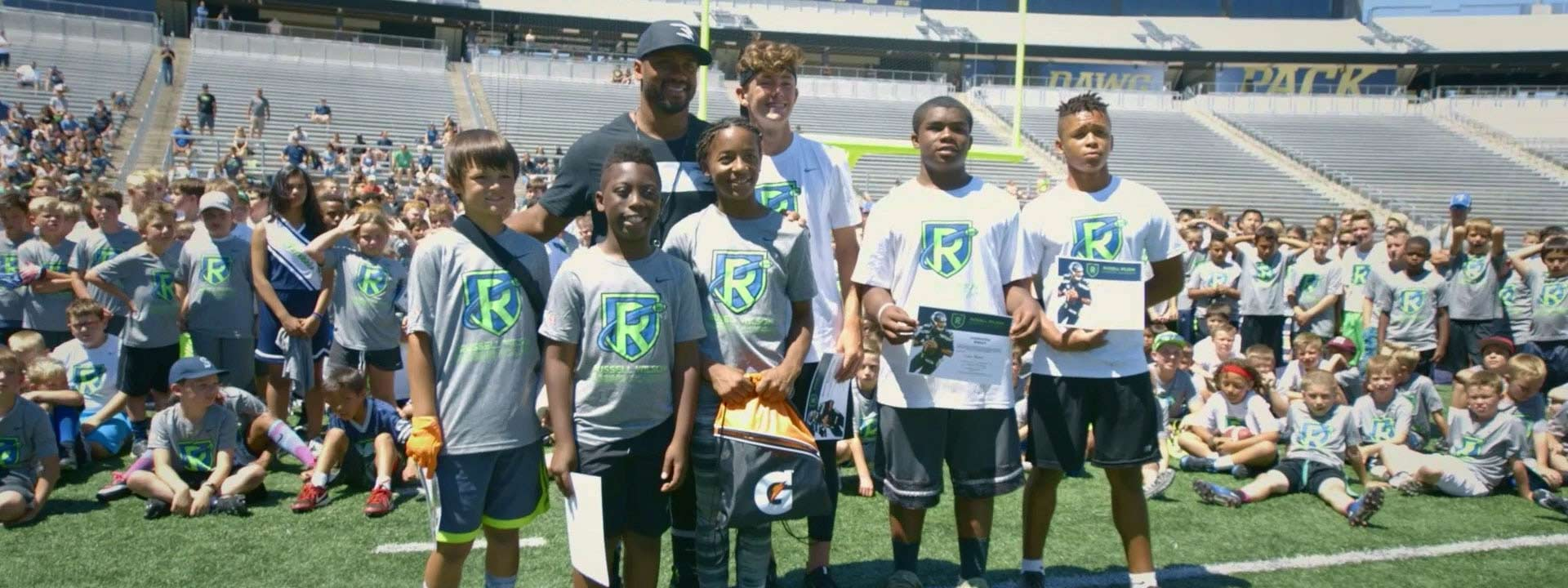 Russell Wilson motivates and empowers today's youth to be tomorrow's leaders through the Why Not You Foundation.